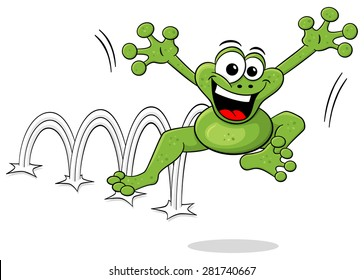 illustration of a jumping cartoon frog isolated on white