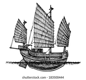 illustration of a junk stylized as engraving.