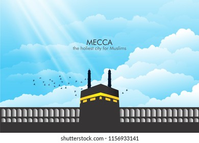 """An illustration of Kaaba Mecca with captions """" MECCA the holiest city for Muslims"""""""