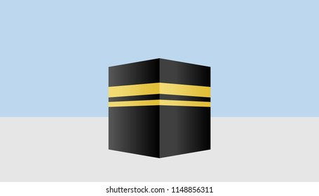 Illustration of kaaba in Mecca icon for Hajj, Ramadan or Eid. Islamic concept.