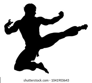 An illustration of karate or kung fu martial artist delivering a flying kick in silhouette