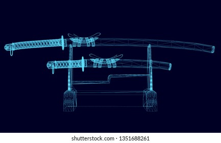 illustration of a katana on a stand. Wireframe katanas on a dark background. 3D illustration.