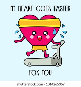 Illustration of a kawaii heart running happily for your love  in a treadmill in the gym. Happy Valentine's Day!