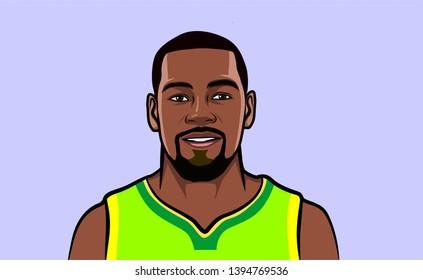illustration Kevin durant. Golden State Warriors. National Basketball Association
