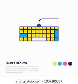 illustration of keypad icon colored line. Beautiful computer element also can be used as qwerty icon element.