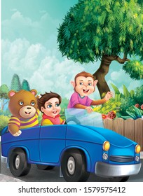 an illustration of kid riding small car with his friends bear and monkey  for story books rhymes
