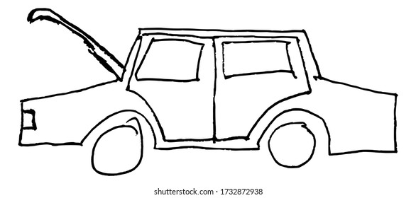 Illustration in kid style drawing of broken car on the road and need some help