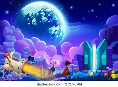 Illustration: The kid try to hack a planet's Core Energy System and steal energy for his home planet which is falling apart. Realistic Cartoon Style. Sci-Fi Scene / Wallpaper / Background Design.