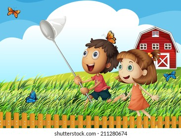 Illustration of the kids catching butterflies at the field