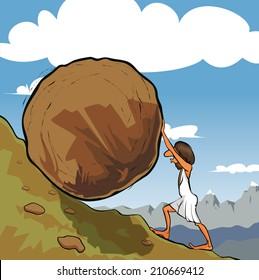 Illustration of king Sisyphus rolling a boulder up the hill.