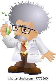 Illustration of a kooky professor or scientist holding a test-tube