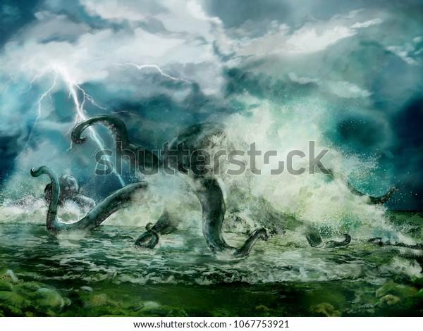 Ilustración de un pulpo Kraken o gigante en la tormenta, espiral cerca de la costa