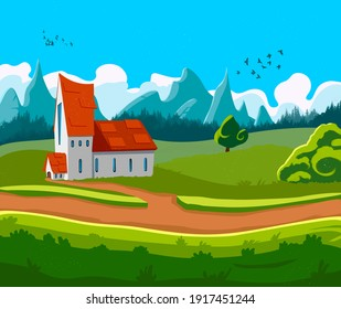Illustration of landscape. May use as game background, scene or book's illustration and others.