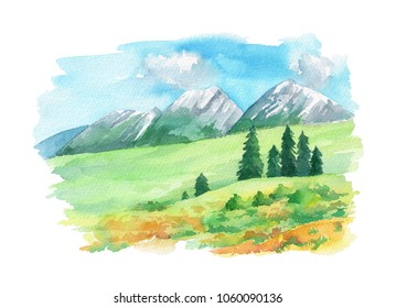 Illustration landscape with Swiss Alps and flowers on the green grass. Hand painted in watercolor. Isolated  on a white background.