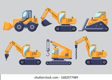 Illustration of a large construction equipment industry as a set