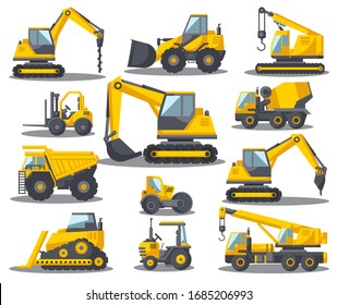Illustration of large construction equipment set Special machinery for construction Forklifts, cranes, excavators, tractors, bulldozers, special equipment trucks