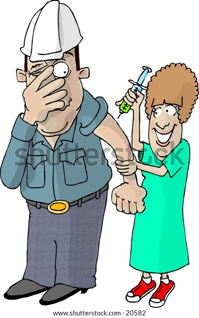Illustration of a large man getting a flu shot from a small nurse.