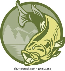 Illustration of a largemouth bass fish jumping with lake river water and mountains in background done in retro style.