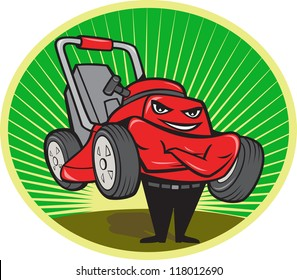 Illustration of lawn mower man smiling standing with arms folded facing front done in cartoon style set inside oval with sunburst in the background.
