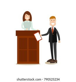 Illustration of lawyer questioning witness female standing at tribune. Law court people flat style design element, icon isolated on white background.