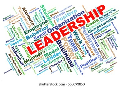 Illustration of leadership wordcloud tags