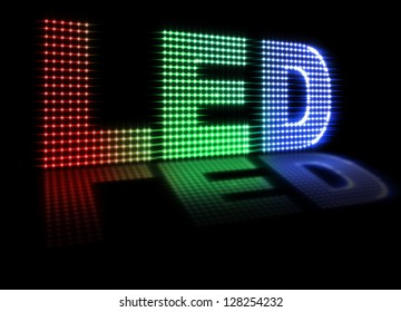 Illustration of LED spelled out with colored leds