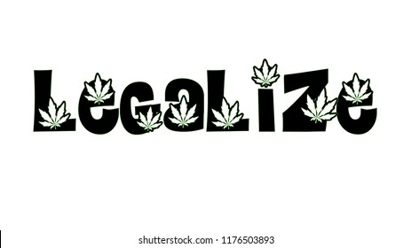 Illustration of legalize text on white background
