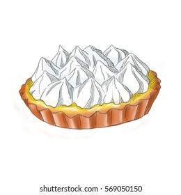 Illustration of lemon meringue pie in color, hand drawn food. Digital art.