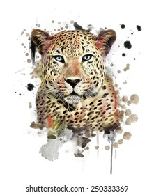 illustration leopard/T-shirt graphics/abstract watercolor like leopard/leopard graphics on a white background/wild leopard hunting/leopard print on canvas