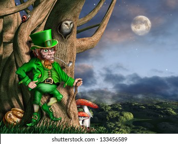 Illustration of a leprechaun with his pot of gold at night