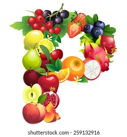 illustration Letter P composed of different fruits with leaves