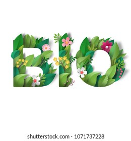 Illustration. Letters of leaves and flowers. Lettering Bio. Paper art.