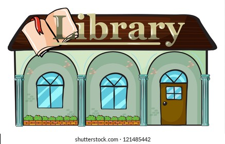 illustration of a library on a white background
