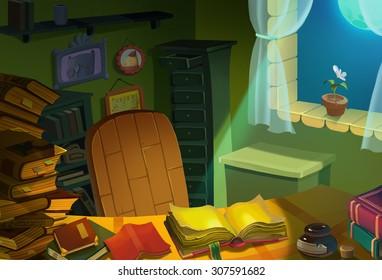 Illustration: Library Room at Night. Realistic Cartoon Style. Fantasy Scene / Wallpaper / Background Design.