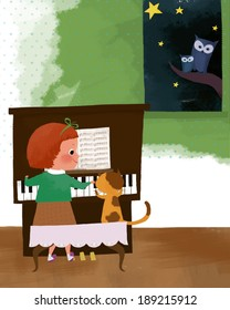 Illustration of life and piano playing