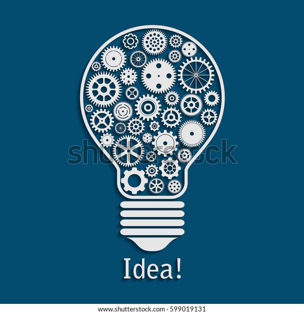 illustration of light bulb made of cogwheels