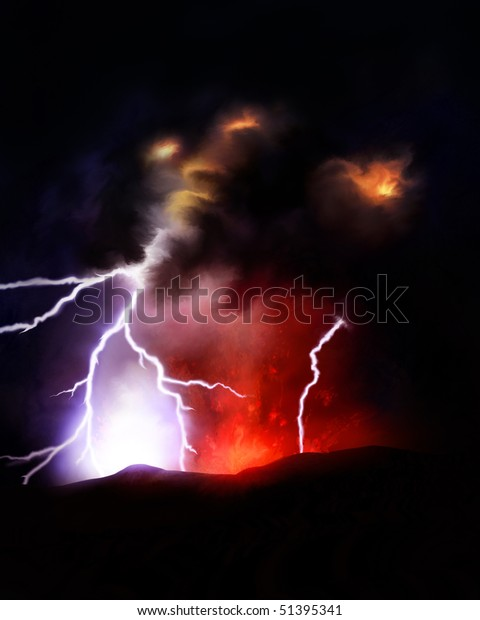 Illustration Lightning Bolts Emitting Volcanic Ash Stock