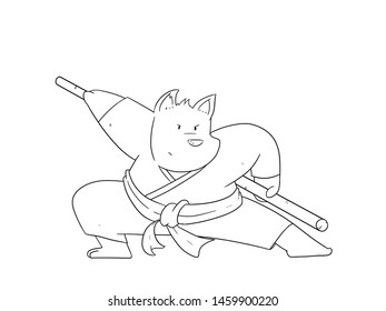 illustration line art  of Cartoon Karate dog on a white background
