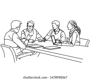 Illustration of line drawing meetings and discussions with leaders in the office is very good for finding new ideas that are suitable for your business or company to be more advanced