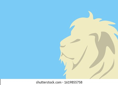 illustration of lion in profile, symbol of Brazil's income tax, with empty background in blue