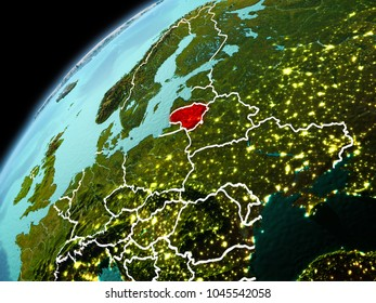 Illustration of Lithuania as seen from Earthâ??s orbit in late evening with visible border lines and city lights. 3D illustration. Elements of this image furnished by NASA.