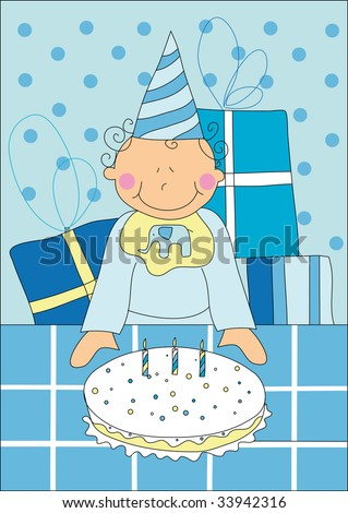Incredible Illustration Little Boy Birthday Cake Stock Illustration Royalty Funny Birthday Cards Online Inifofree Goldxyz