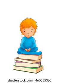 Illustration of little boy is lying on her stomach reading book. he has a look of enjoyment on her face and she looks very relaxed.