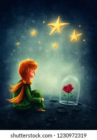 Illustration of little boy and the rose