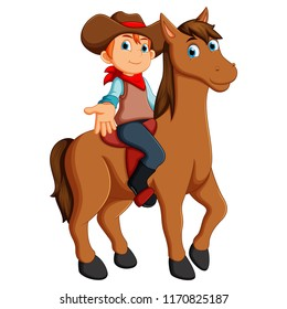 illustration of Little cowboy riding a horse