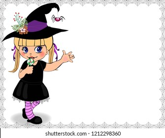 illustration of little cute naughty baby girl in witch dress costume framed with cobweb isolated on white background. Halloween invitation, greeting card template with copy space.