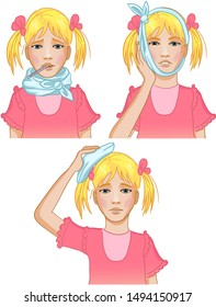Illustration of a little girl complaining about headache, sore throat and inflammation of ear. Each image shows possible symptoms of a cold