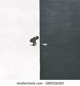 illustration of little kid playing with paper boat in the water, black and white contrast concept
