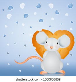 illustration of little mouse with a cheese heart