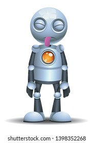 illustration of a little robot sticking it tounge out on isolated white background